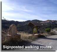 Signposted walking routes of Lijar in the Almazora valley of Almeria