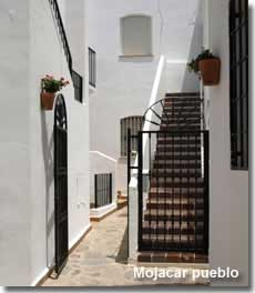 Traditional whitewashed Spanish street in Mojacar village