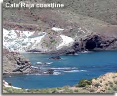 White rocks and cave at Cala Raja cove in the Cabo de Gata