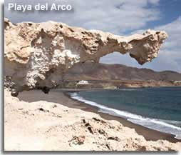 Rock formation beside Playa del Arco beachArco beach