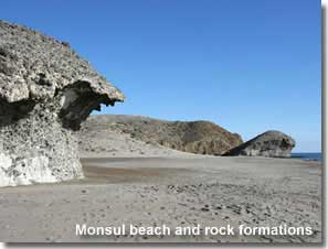 Monsul beach and volcanic rock formations