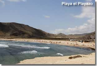 El Playazo beach against the backdrop of the Rodalquilar hillside