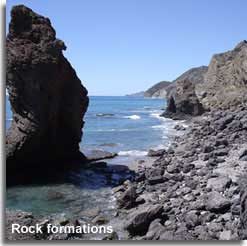 Rock formations of Sombrerico beach near Mojacar
