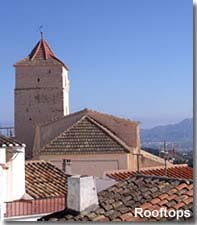 Bedar church steeple and rooftops