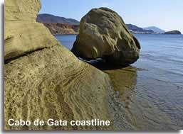 Rock formations along the Cabo de Gata coastline