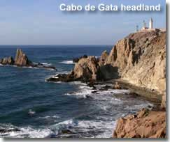 Cabo de Gata headland for kayak excursions