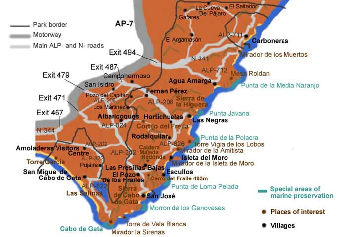 Map of Cabo de Gata Almeria