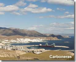Carboneras town and coastline landscape