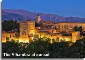 The Alhambra lit up at sunset