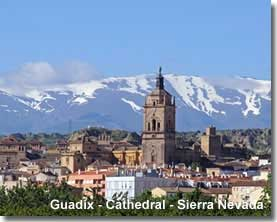 Guadix city with the Sierra Nevada backdrop