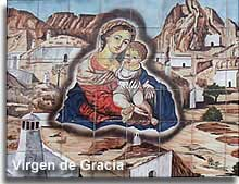 Mosiac image on Plaza Poveda of the padrona of the cave district - the Virgen de Gracia