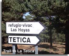 Signpost along the walking trail to La Tetica in the Sierra Filabres of Almeria in Spain