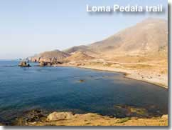 Coastline at the start of the Loma pedala trail in Cabo de Gata