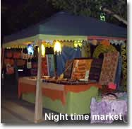 Night time medieval market