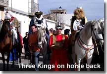 The Three Kings on horse back in the Los Gallardos Christmas Fiesta