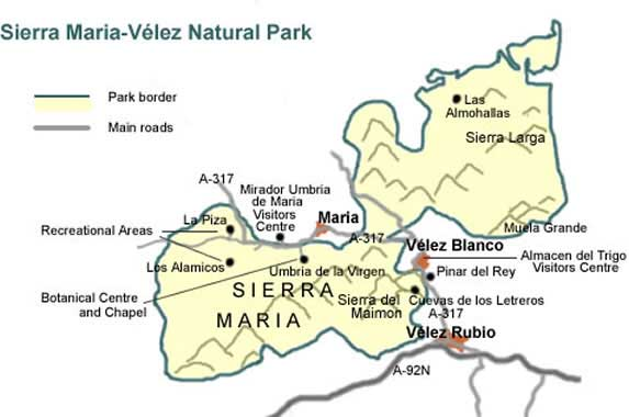 Map of Sierra Maria-Velez Natural Park