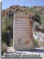 Signpost to the villages in the Sierra Cabrera in Almeria