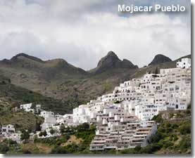 Mojacar Pueblo in the Sierra Cabrera mountain range in Almeria