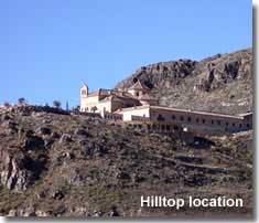 Hilltop location of the Saliente Monastery