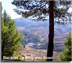 Views down to Bacares and of La Tetica de Bacares valley