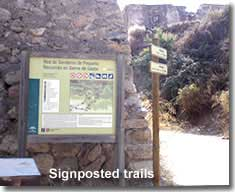 Signposted trails in the Sierra Gador mountains