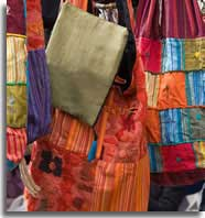 Colourful bags on open air market