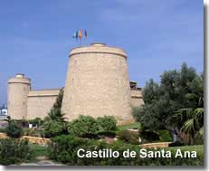 Santa Ana castle at Roquetas de Mar port