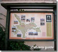 Map placard and guide for Sierra Cabrera activities