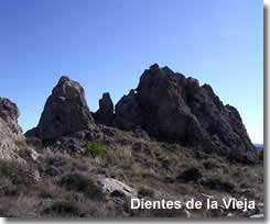 Dientes de la Vieja rock formations of Sierra del Saliente in the Almanzora mountains