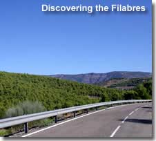 Driving route in the Filabres mountains and valleys of Almeria in Southern Spain