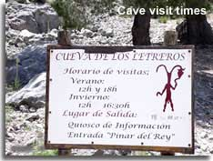 Visit times at the cave entrance