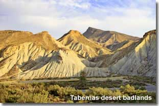 Badlands in the Tabernas Desert of Almeria in Spain